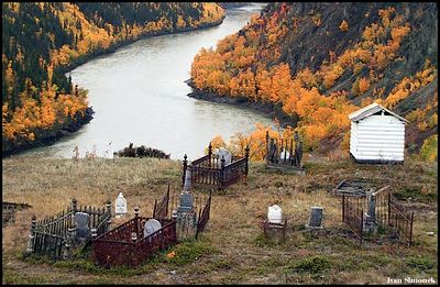 """OLD CEMETERY"", Telegraph Creek, B.C., Canada.------""STARY HRBITOV"", Telegraph Creek, B.K., Kanada."