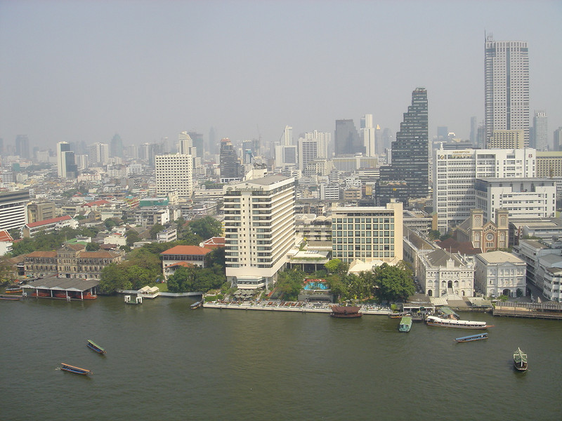Bangkok from my room at the Peninsula Hotel.