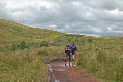 Approaching the long climb to Whernside. The path goes up and off to the left.