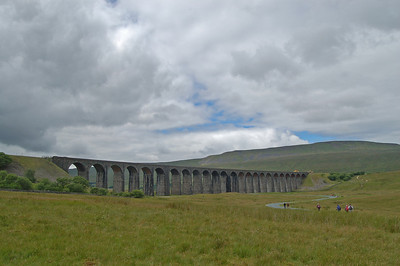Approaching the Victorian engineering marvel that is the Ribblehead Viaduct, with Whernside behind
