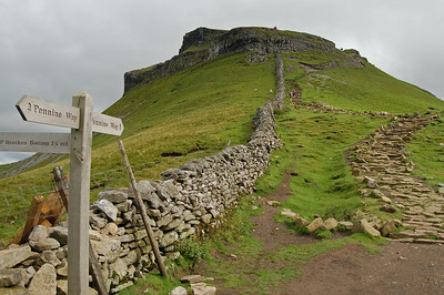 At the col on the south side of Pen-y-ghent, with the final steep climb to come. Note the flagstones on the path, designed to minimise erosion.