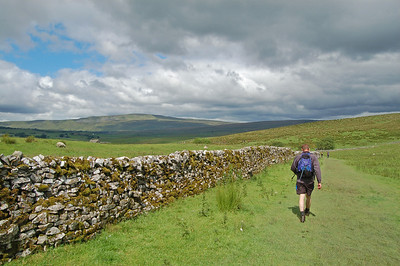 Steve strides out towards distant Whernside on a lovely section of path