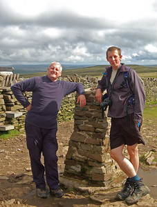 Graham and Steve at the summit of Pen-y-ghent. One down, three to go!