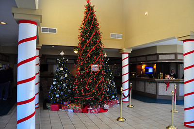 Registration lobby at Christmas time