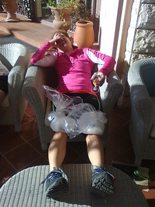 Icing post-ride in Puglia, Italy