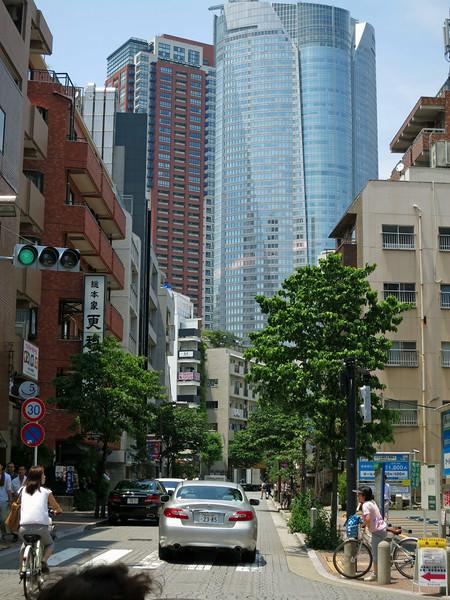 Looking back at Mori Tower from Azabu Juban