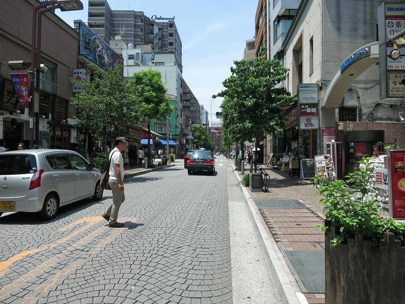 Azabu-Juban, an older neighborhood shopping street west of the  Hyatt