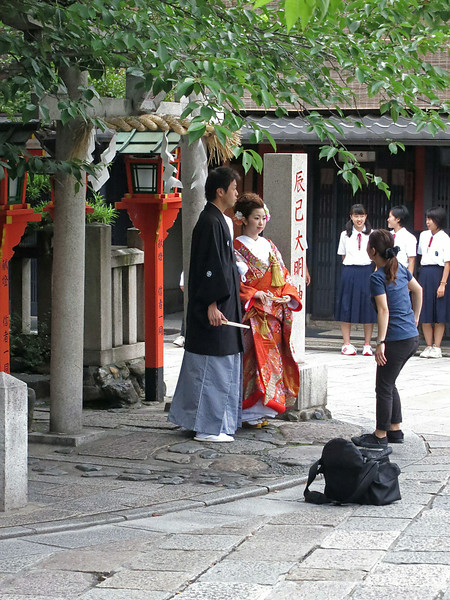 Costumed for wedding photos in the Geisha district, Kyoto