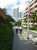 Walking to the train station (the first tall building): Shin-Kobe Oriental City.