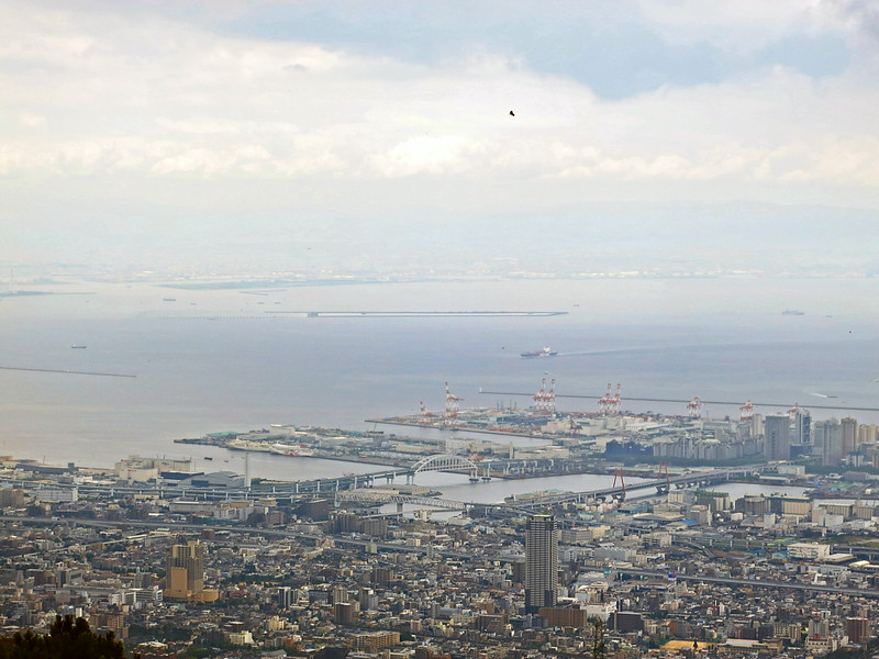 The port from Mount Rokko; Osaka is across the bay.