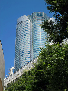 Mori Tower, 238 meters, in Tokyo's Roppongi district. Skydeck at 52nd Floor (218 meters). Connects to Hyatt thru a shopping center.