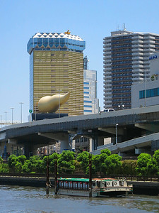 Asahi Beer Hall: polished black granite with giant gold flame on its flat roof.