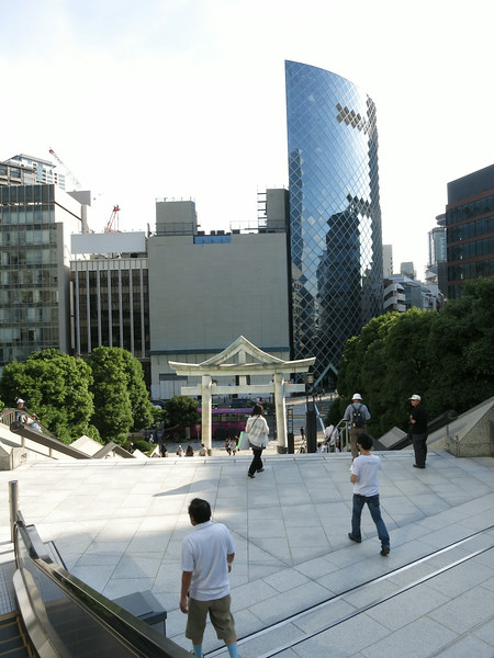 Looking back at the Torii and downtown street