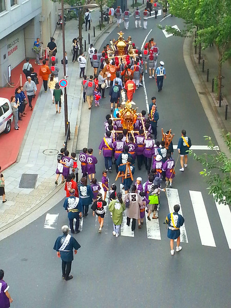 The biennial Sanno Matsuri parade begins daily at 8 AM at the Hie-Jinja shrine , winds through downtown Tokyo, then returns to the shrine at the end of the day.