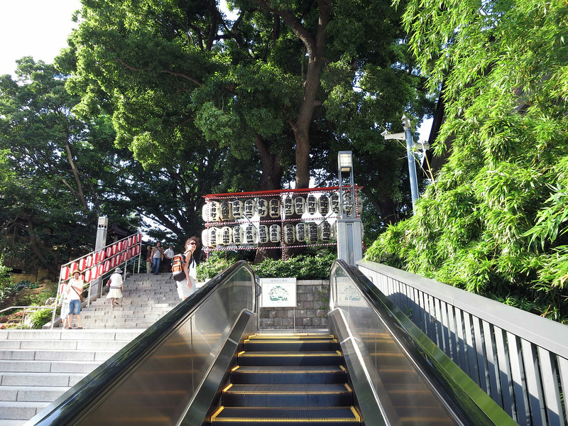 Top of the escalator to Hie-Jinja Shrine. Aliza took the steps.
