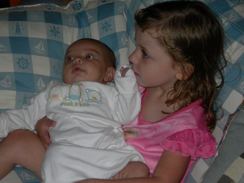 GRANDAUGHTER Kate Mannion with NEWEST GRANDAUGHTER Maya Carolan, her cousin.