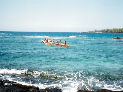 outrigger near the Pu'uhonua o Honaunau National Historical Park