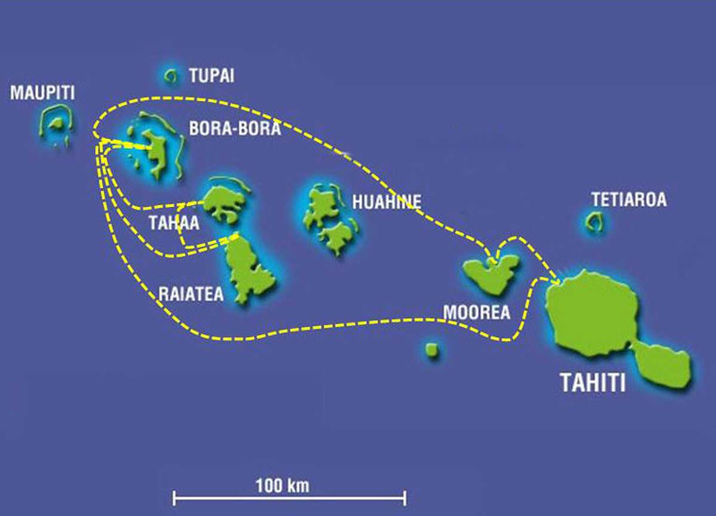 Our Route Around the Society Islands