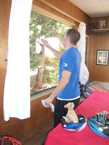 Christian decided he couldn't handle the dirty window, so he washed it -- both inside and out.