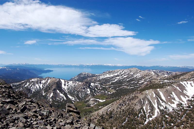 Mt. Rose summit, looking South-West over Lake Tahoe. 10,776 ft. June 20, 2008.