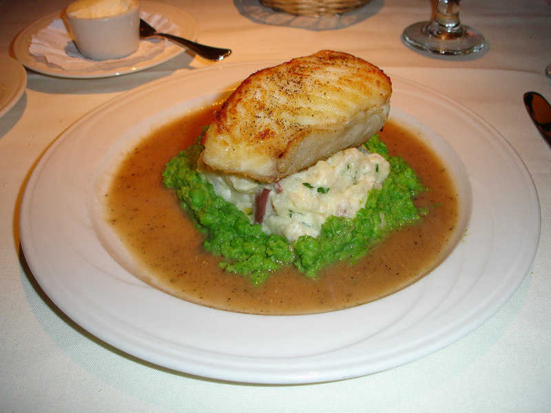 A very nice Halibut entree at Evans gormet cafe