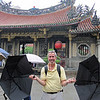 """Terry """"singing in the rain"""" at the Longshan Temple, Old Taipei"""