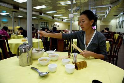 Selina serving, Po Lin monastery, Lantau island, Hong Kong.