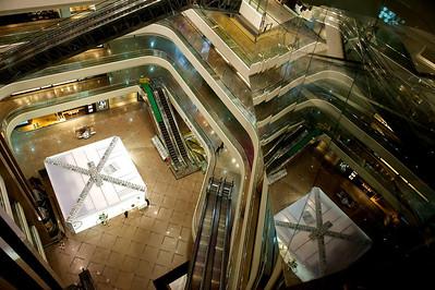 Quiet mall at night, Hong Kong.