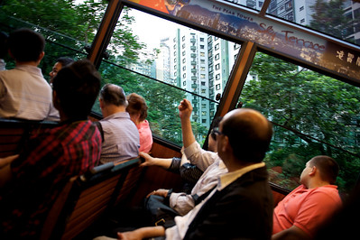 Cable car going up to the Peak, Hong Kong.
