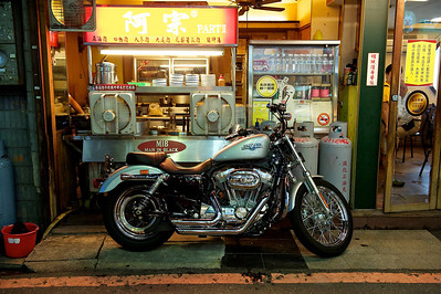 Brand new Harley Davidson Sportster in a Taipei back street.