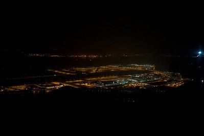 International airport by night, Hong Kong.