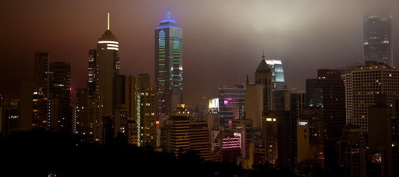 Hong Kong at night from hotel room window