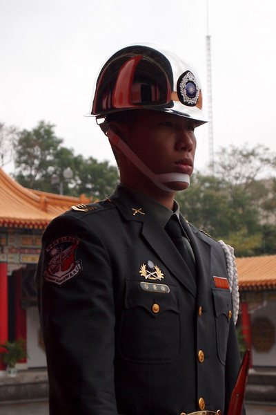 A guard at The Martyr's Temple in Taipei