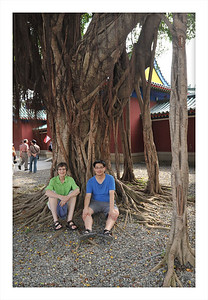 Wayne and I hanging out under our own Buddha tree