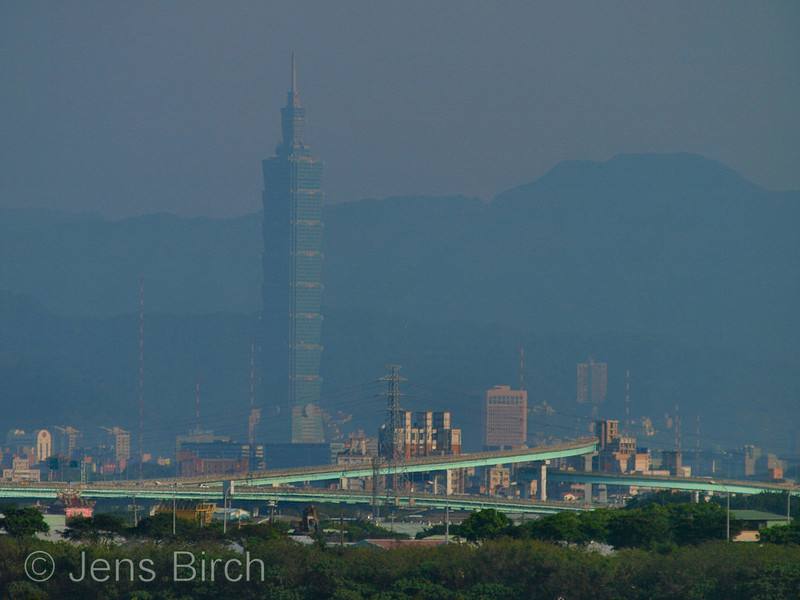 Taipei skyline as seen from the mangroves
