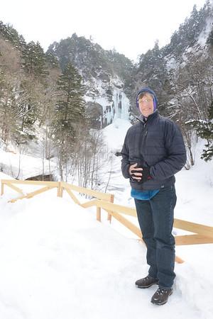 Standing in front of Hirayuotaki Falls
