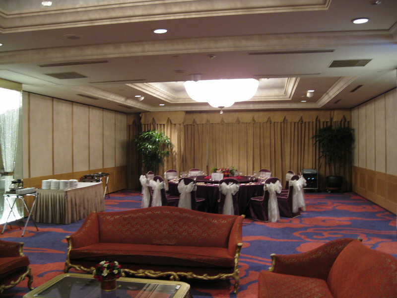 The wedding will be in a banquet room like this one (but with a few more tables)