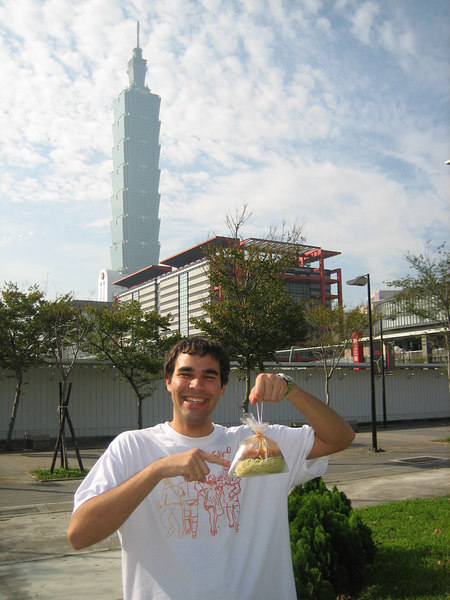 "Ricardo with my favorite ""cold noodles"" near Taipei 101 - the tallest building in the world"