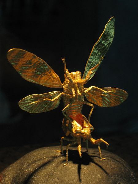 Insect GOLD sculptures inside the observation tower of Taipei 101.