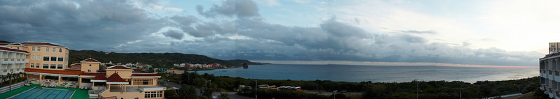Panorama of the sunset outside the posh hotel we got in Kending
