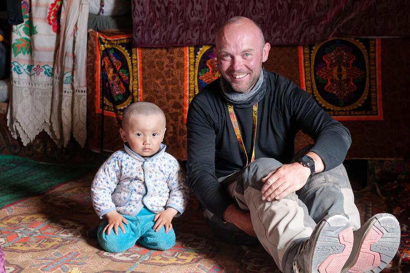 Me with young Kirgiz boy. Yashikul - M41 Pamir Highway via Ak Jar. Tajikistan