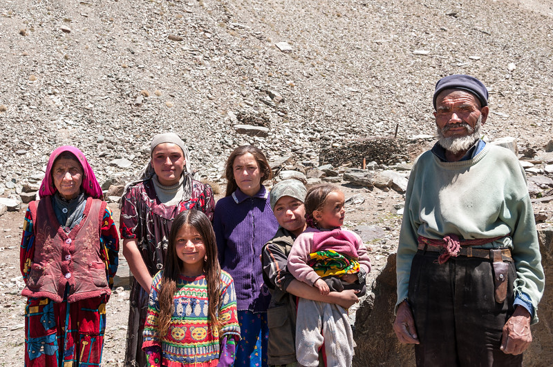 Three generations of the same family shared a stone hut in Bartang Valley from May to September. Tajikistan