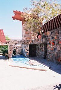 5/18/00 Taliesen West, Scottsdale, AZ Breeze-way with reflecting pool. Rear of house