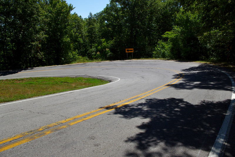 Hairpin curve, Arkansas 23 near Eureka Springs, Arkansas.<br /> <br /> Oh, yeah!