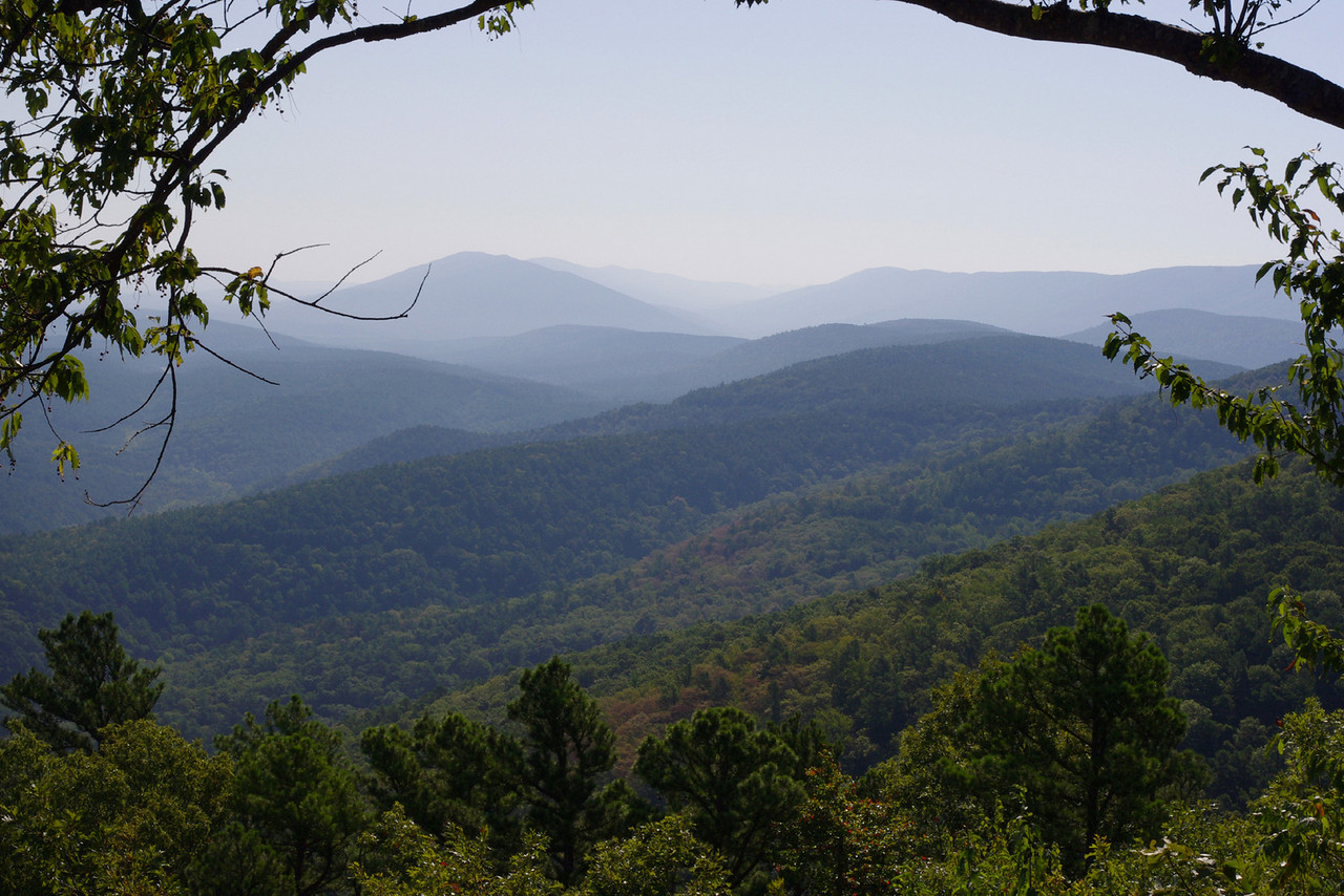 """View from the Talimena Scenic Byway in eastern Oklahoma.<br /> <br />  --  Friday August 27<br /> Bacon and eggs at 0700, then westward on the Talimena Trail. And one sweet road it is, too! Twisty, a few steep climbs, incomparable scenery - and on this morning, we owned it! By 11:00 AM, we had seen only 3 other vehicles! <br /> <br /> Compared to the Ozarks, where I was born and raised, these hills are a magnitude bigger. It's my opinion that there are no mountains between the Appalachians and the Rockies; when people refer to the """"Ozark Mountains,"""" they are usually trying to sell you something. But this landscape reminds me of the southern Appalachians, and if you want to call them mountains, I'll not argue."""
