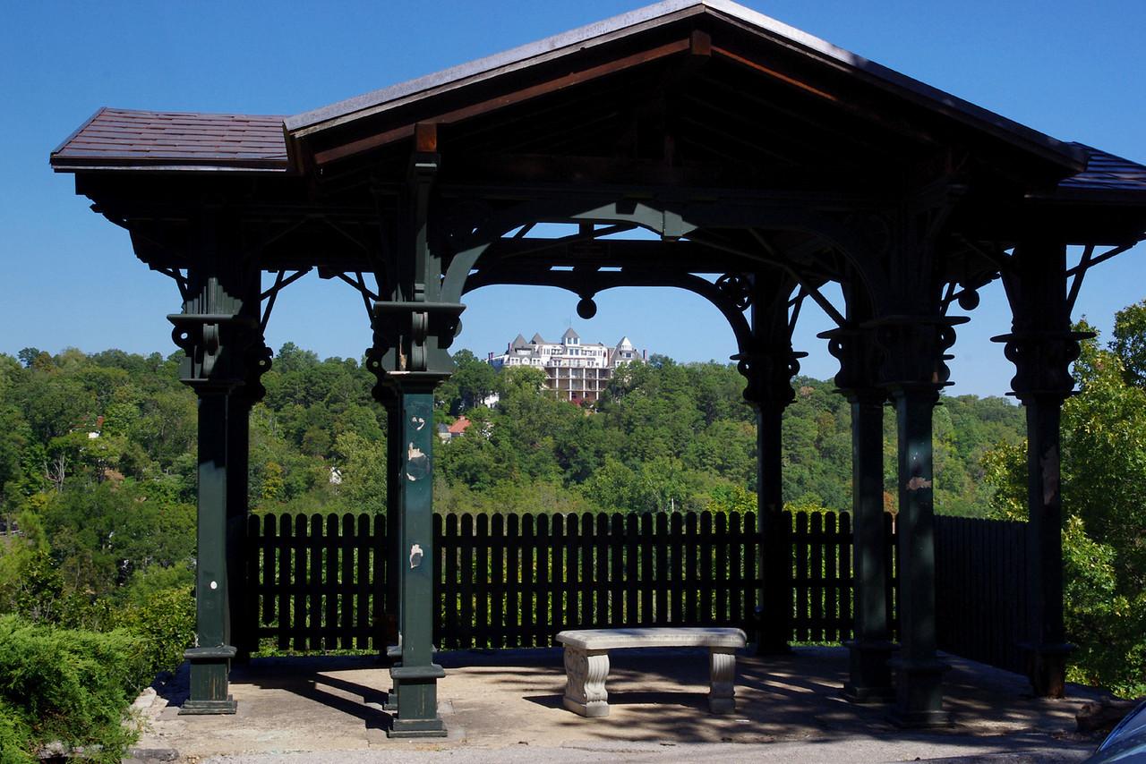 Distant view of Crescent Hotel, Eureka Springs, Arkansas.