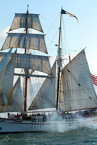 Tall Ships in Battle ~ This ship was in the midst of battle with the schooner, Bill of Rights, on which I was sailing.