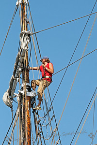 Climbing in the Rigging ~ Before we went out to sea, this brave and agile young man was up in the rigging of one of the ships, preparing to sail.