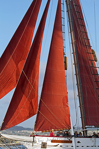 Red Sails Furled ~ This photo was from the Tall Ships Festival in Dana Point, of the ship American Pride.