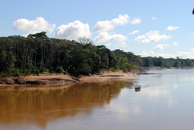 A boat cruising the Tambopata